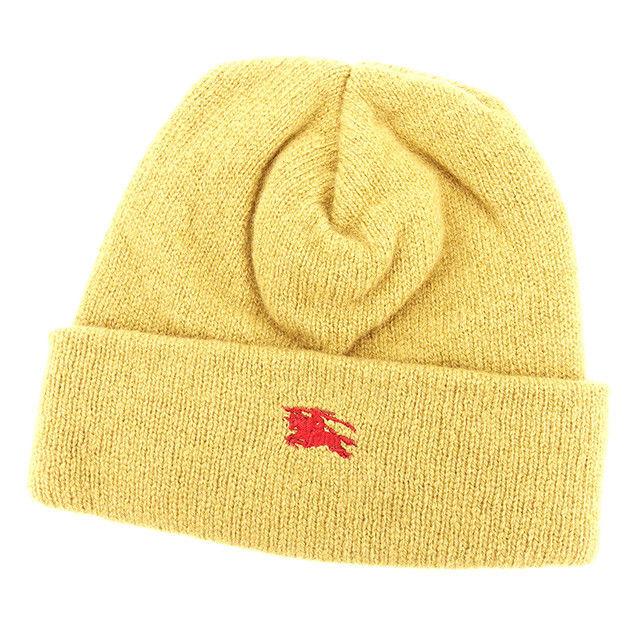 【中古】 バーバリー BURBERRY 帽子 レディース メンズ 可 ホース刺繍 ニット帽 ベージュ×レッド ウール100% 美品 L1572 .