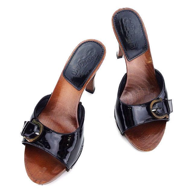 【中古】 サルヴァトーレ フェラガモ Salvatore Ferragamo サンダル シューズ 靴 レディース ハイヒール ブラック×ブラウン エナメルレザー×ウッド L1574