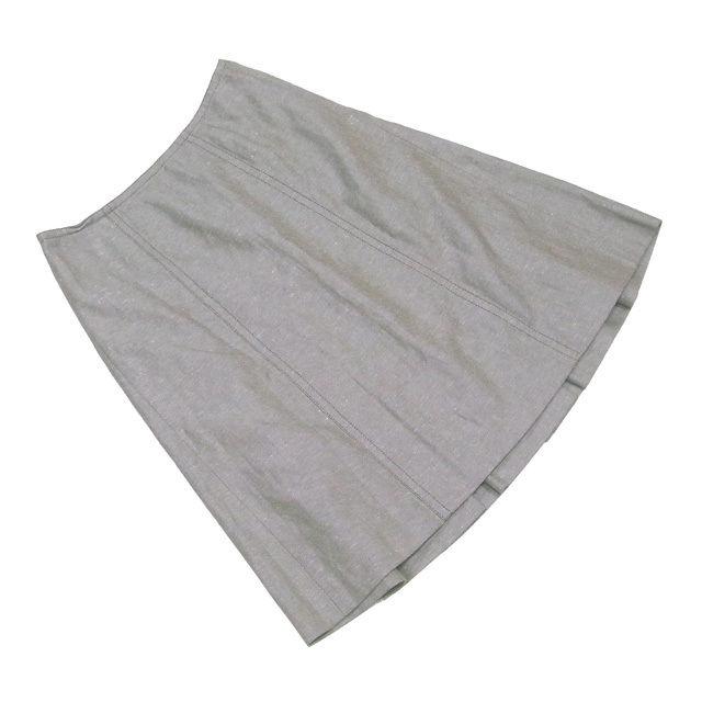 【中古】 ルイ ヴィトン Louis Vuitton スカート 後タック入り レディース ♯36サイズ フレアー カーキ系 コットン60%麻40% 美品 L1606 .