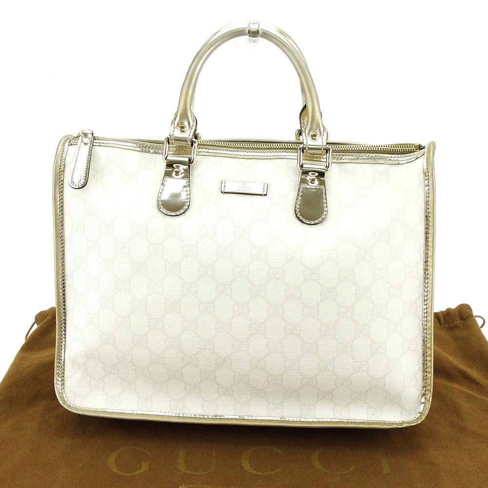 【中古】 グッチ Gucci ハンドバッグ バッグ メンズ可 GGプラス ホワイト×シルバー PVC×レザー 人気 良品 L1608
