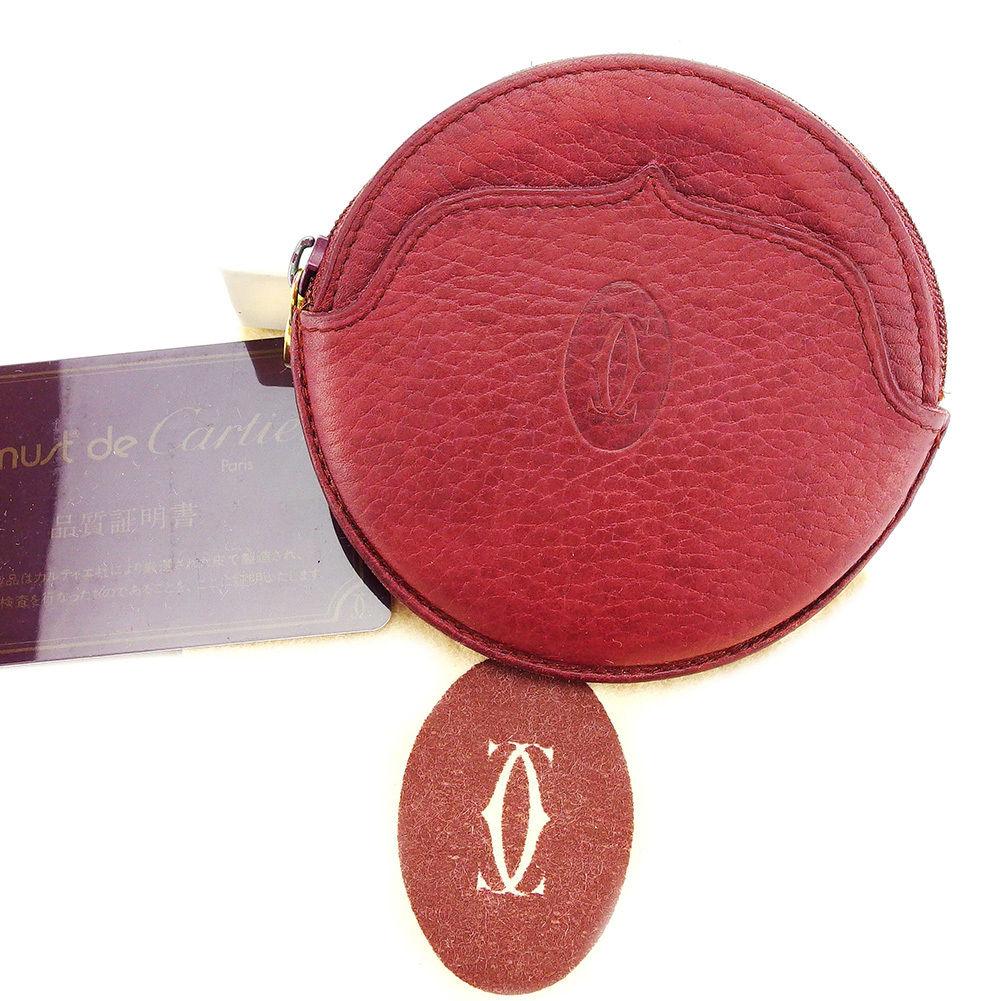 【中古】 カルティエ Cartier コインケース 小銭入れ メンズ可 ボルドー レザー L1638