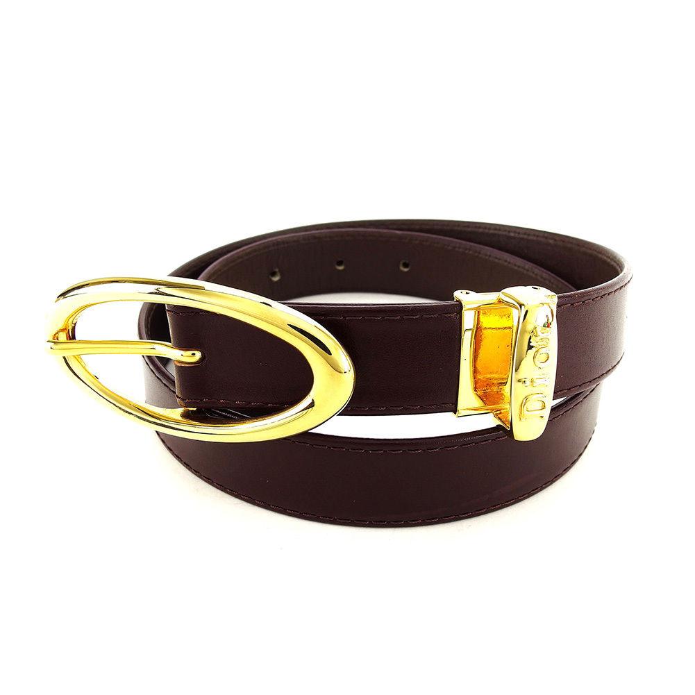 【中古】 ディオール Dior ベルト レディース ブラウン×ゴールド レザー L1642