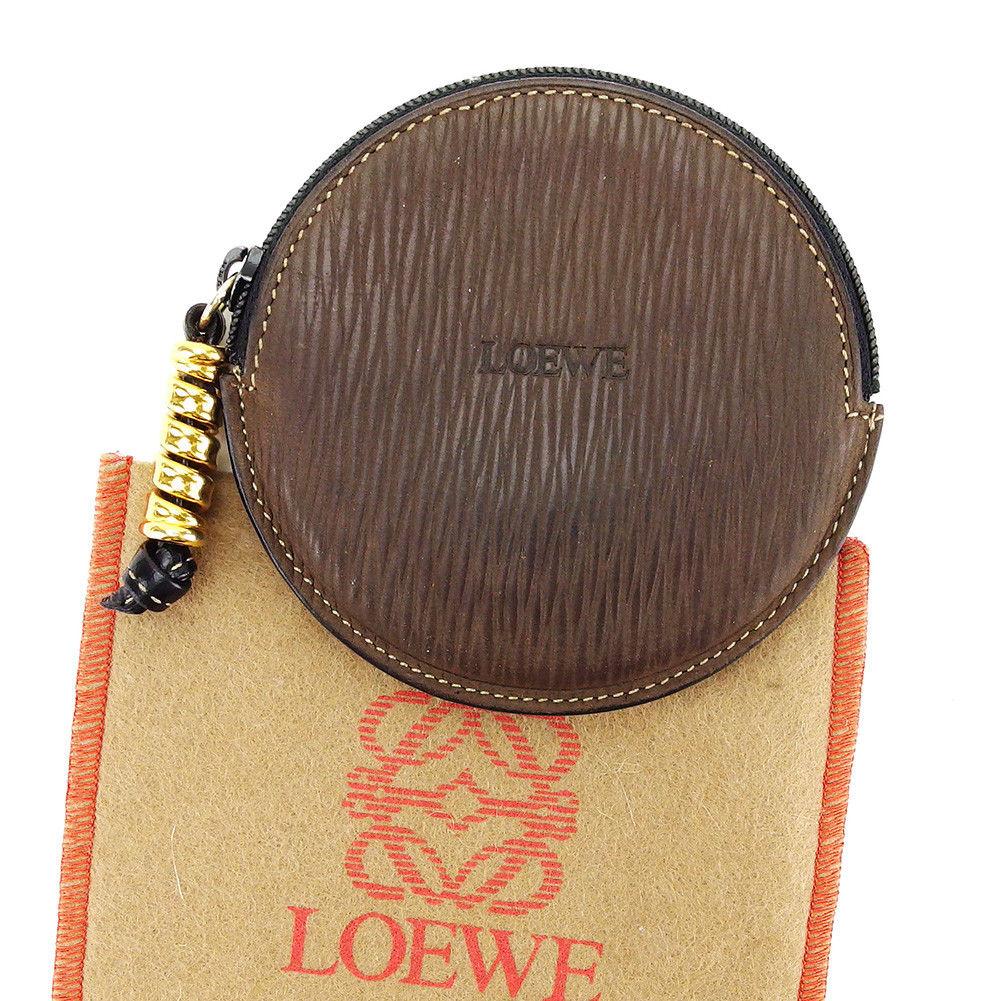【中古】 ロエベ LOEWE コインケース 小銭入れ メンズ可 ブラウン×ゴールド レザー 人気 良品 L1656 .