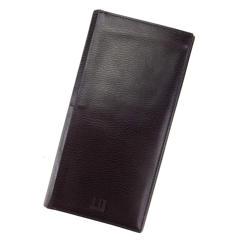 【中古】 ダンヒル dunhill 長札入れ 二つ折り 財布 メンズ可 ブラック レザー L1681 .