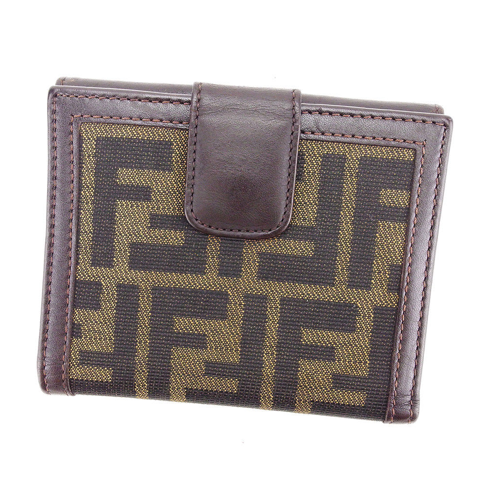 【中古】 フェンディ FENDI Wホック財布 二つ折り 財布 メンズ可 ズッカ ブラウン キャンバス×レザー 美品 L1682 .