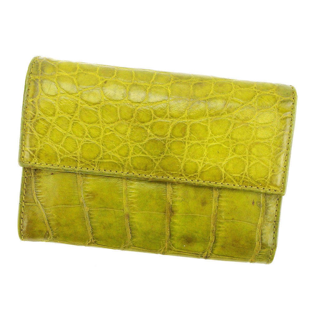 0ff7a173d0e4 Leather popularity sale L1690 of Prada PRADA three fold wallet wallet men's  possible crocodile type push Green line.