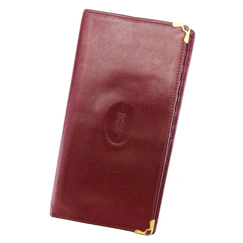 【中古】 カルティエ Cartier 二つ折り 札入れ 長財布 財布 メンズ可 ボルドー レザー L1693