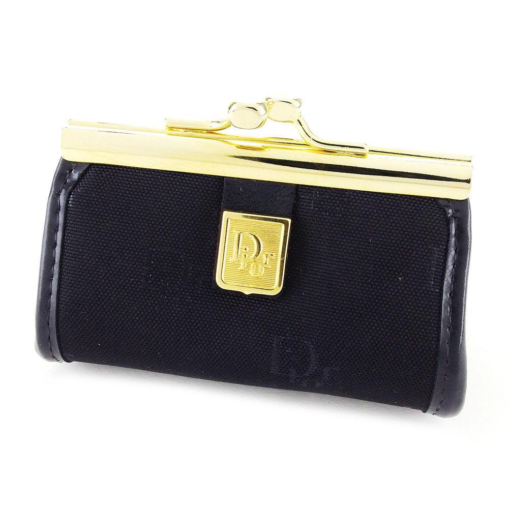 【中古】 ディオール Dior コインケース 小銭入れ メンズ可 ブラック×ゴールド コーティングキャンバス 美品 L1723