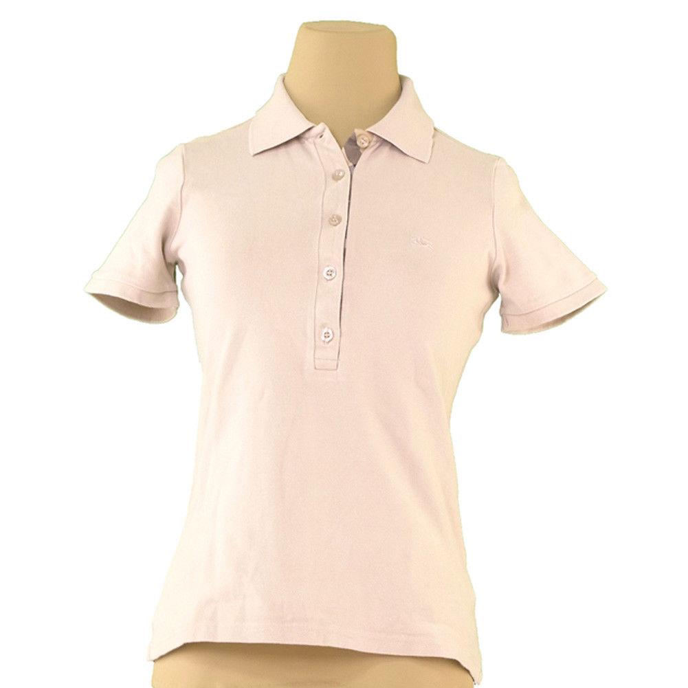 【中古】 バーバリー BURBERRY ポロシャツ 半袖 カットソー レディース ♯Sサイズ ホース刺繍 ベージュ系 コットンCO/98%エラスタンEA/2% 良品 L1734 .