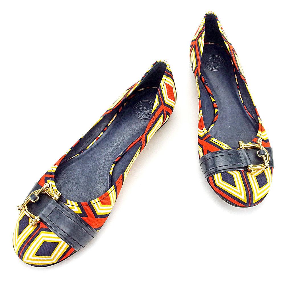 【中古】 トリーバーチ Tory Burch パンプス シューズ 靴 レディース ♯8ハーフM フラット ダイヤ柄 オレンジ×ネイビー×ゴールド系 キャンバス×レザー 美品 L1761 .