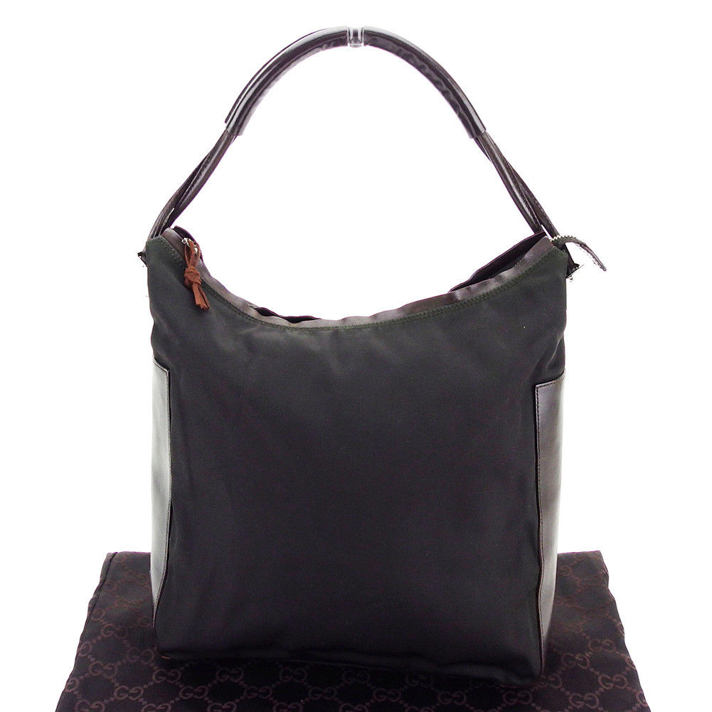 1324c0e6fb4dc4 Gucci GUCCI shoulder bag one shoulder Lady's logo plate dark brown X silver  system nylon canvas X leather popularity sale L1776