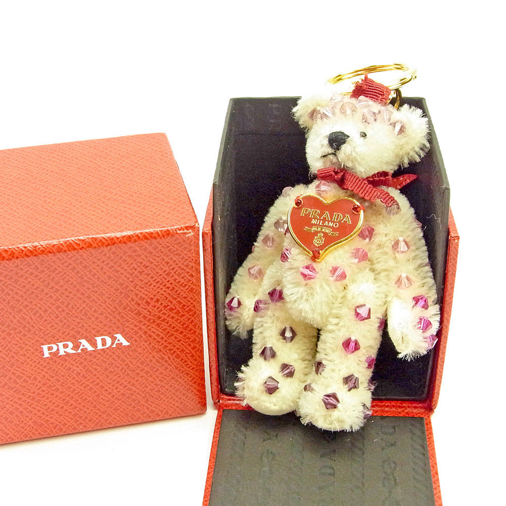 【中古】 プラダ PRADA キーホルダー キーリング メンズ可 テディベア ゴールド×ピンク×ベージュ 中古 L1799 .