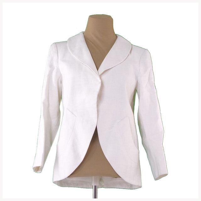 【中古】 イヴサンローラン YVES SAINT LAURENT ジャケット レディース ♯36サイズ 前開き ホワイト 良品 L1861 .