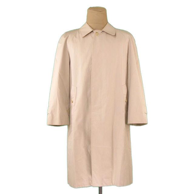 【中古】 バーバリー BURBERRY コート ロング メンズ シングル ステンカラー ライトベージュ 人気 L1905