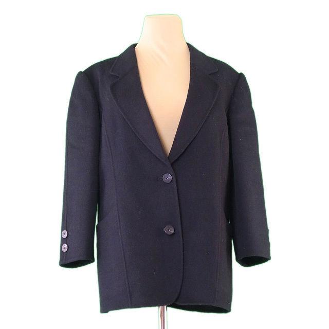【中古】 バーバリー BURBERRY コート 2つボタン レディース ♯13BRサイズ テーラード ブラック 良品 L1915 .