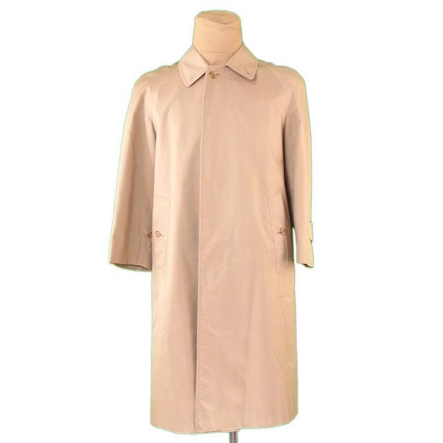 【中古】 バーバリー BURBERRY コート ロング メンズ シングル ステンカラー ベージュ 人気 L1922 .