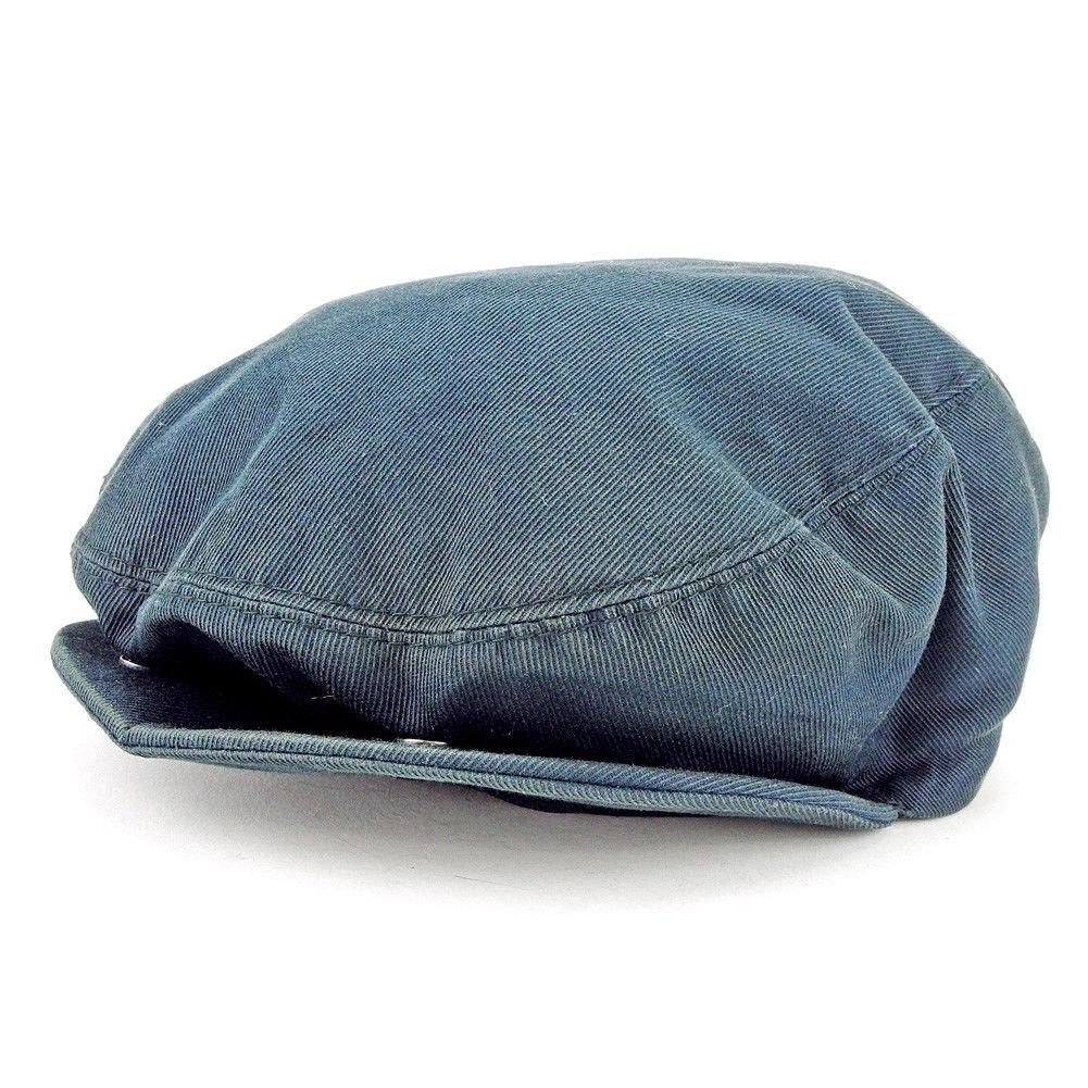 【中古】 グッチ GUCCI 帽子 ♯Lサイズ レディース メンズ 可 シェリーライン ハンチング ネイビー系 キャンバス コットン100%(裏地)ナイロン100% 人気 L1954 .
