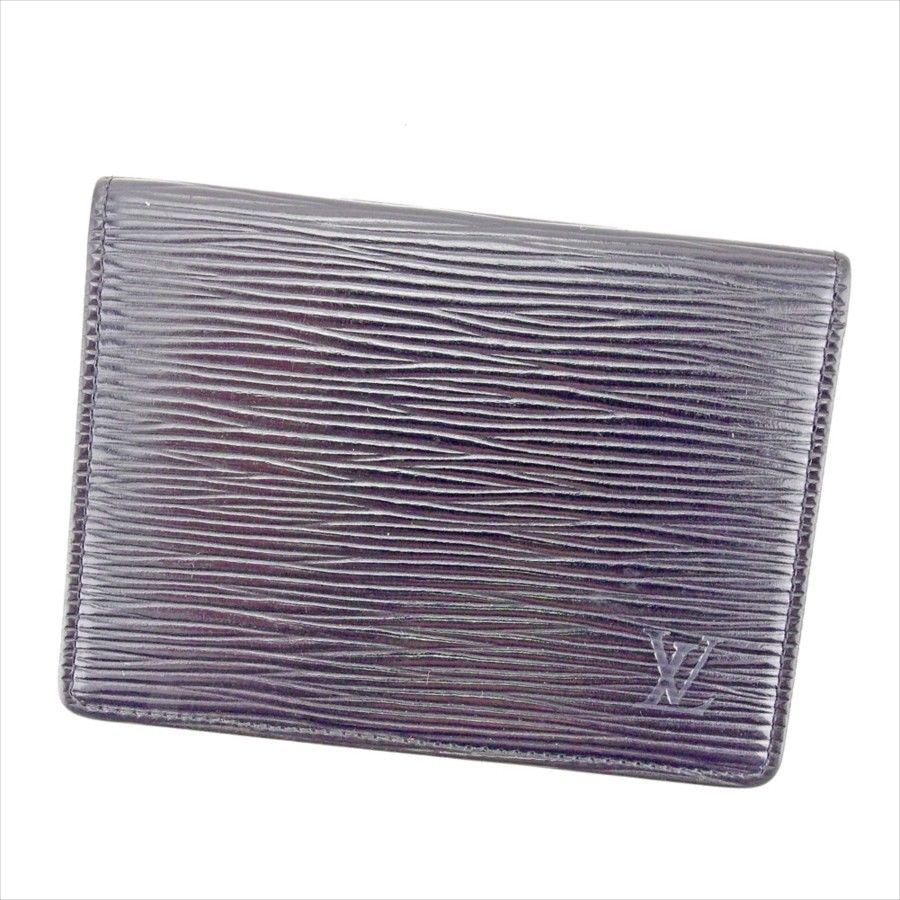 【中古】 ルイ ヴィトン Louis Vuitton 定期入れ パスケース メンズ可 ポルト2カルトヴェルティカル エピ ノワール(ブラック) エピレザー 良品 L2009 .