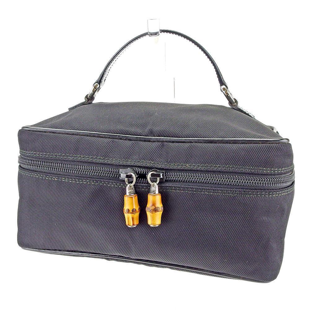 fc3af8cd94f3cf Gucci GUCCI vanity makeup porch handbag Lady's bamboo black X natural X  silver canvas X enamel leather quality goods sale L2025