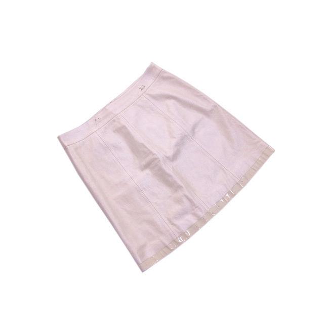 【中古】 シャネル CHANEL スカート /裾切替え レディース /レザーミニ ココマーク アイボリー (激安・即納) L2049