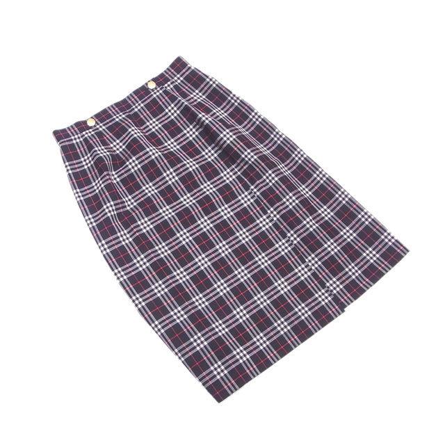 【中古】 バーバリー BURBERRY スカート 巻きスカート レディース ♯11サイズ チェック ブラック×レッド系 人気 L2126 .