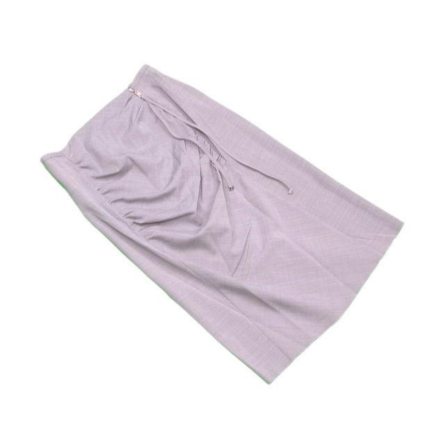 【中古】 ルイ ヴィトン Louis Vuitton スカート 後リボン付き レディース ♯38サイズ シャーリング グレー×シルバー ウール/69%レーヨン/20%ポリアミド/6%アルパカ/3%ポリウレタン/2% 人気 L2175
