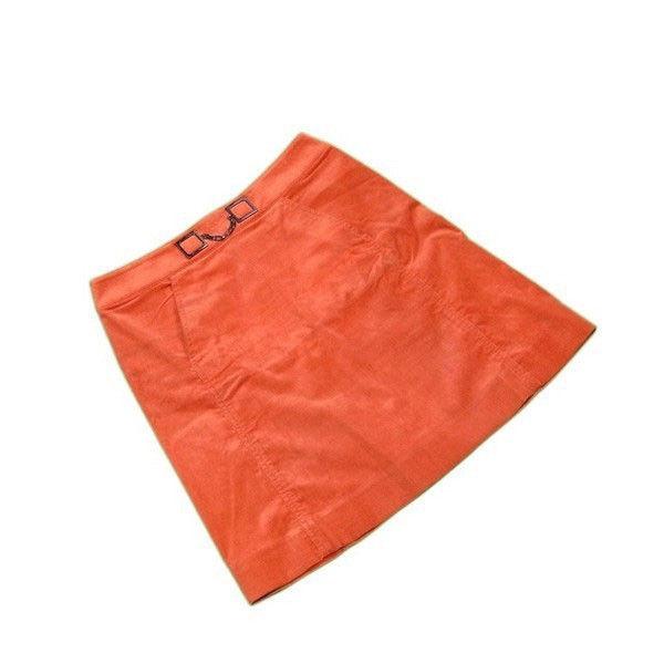 【値引きクーポン】 【中古】 セリーヌ CELINE スカート フレアー レディース ♯40サイズ オレンジ×ブラックシルバー C 55%MODAL 25%NY 18%ET 2% L2187 .