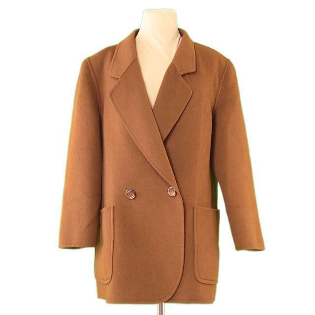 【中古】 バーバリー BURBERRY コート 両サイドポケット付き レディース ♯13BRサイズ ダブルテーラー ブラウン 毛/100%(裏地)キュプラ 良品 L2225