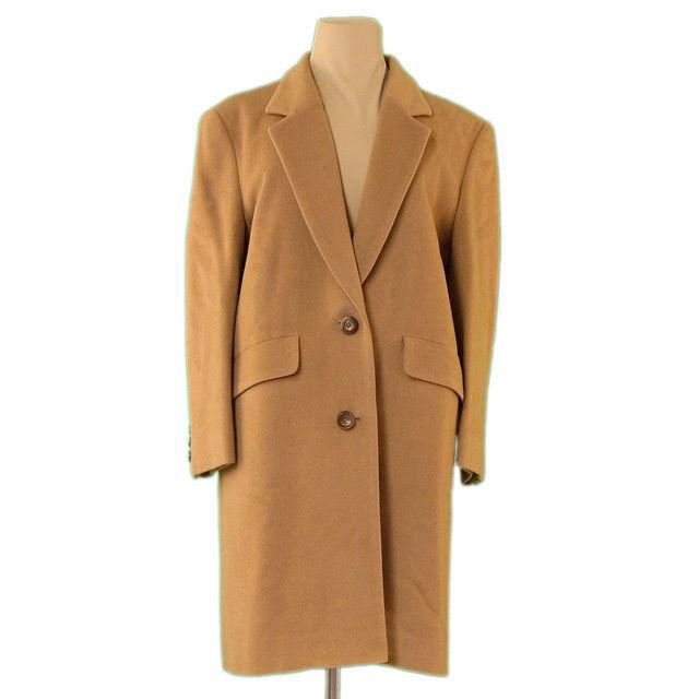 【中古】 バーバリー BURBERRY コート 2つボタン レディース ♯7AB2サイズ テーラード キャメル 毛/100%(裏地)キュプラ 人気 良品 L2230
