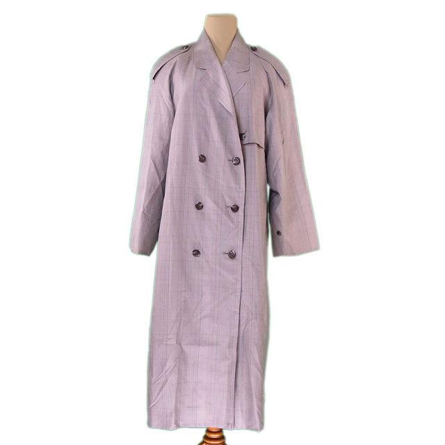 【中古】 バーバリー BURBERRY コート ダブル ロング レディース ♯9ARサイズ チェック ベージュ系 絹/100%(袖裏)キュプラ 人気 L2233