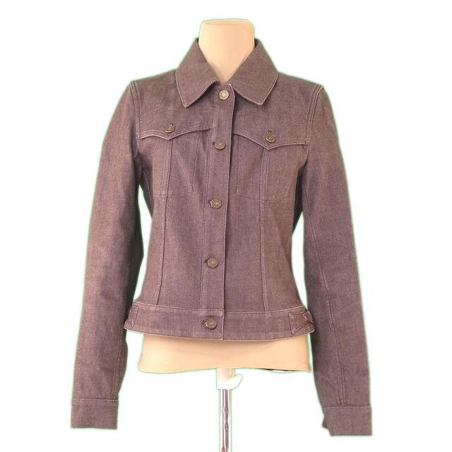 【中古】 セリーヌ CELINE ジャケット カラーデニム レディース ♯38サイズ Gジャン ブラウン×ゴールド C/95%ET/5% 美品 L2247 .