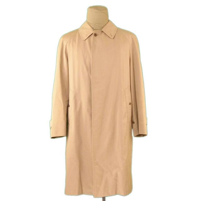 【中古】 バーバリー BURBERRY コート ロング メンズ シングル ステンカラー ベージュ PE/67%C/33% 人気 L2258 .