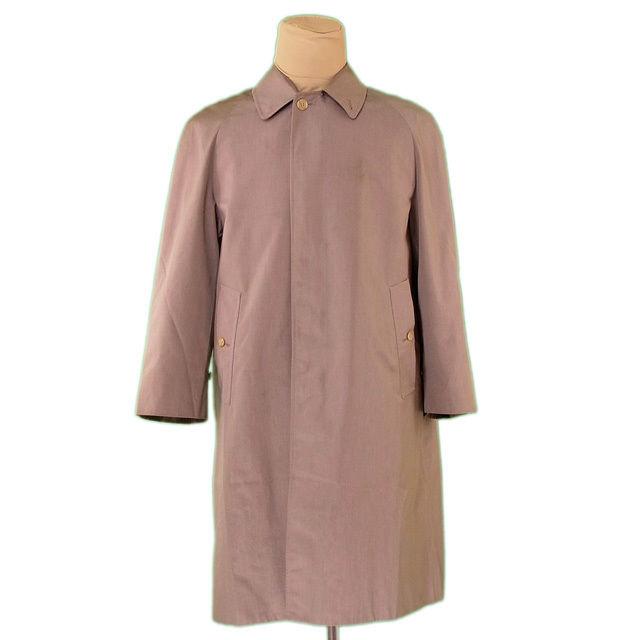 【中古】 バーバリー BURBERRY コート シングル ロング メンズ ♯Mサイズ ステンカラー ブラウン ポリエステル/65%綿/35%(裏地)ポリエステル 人気 L2259 .