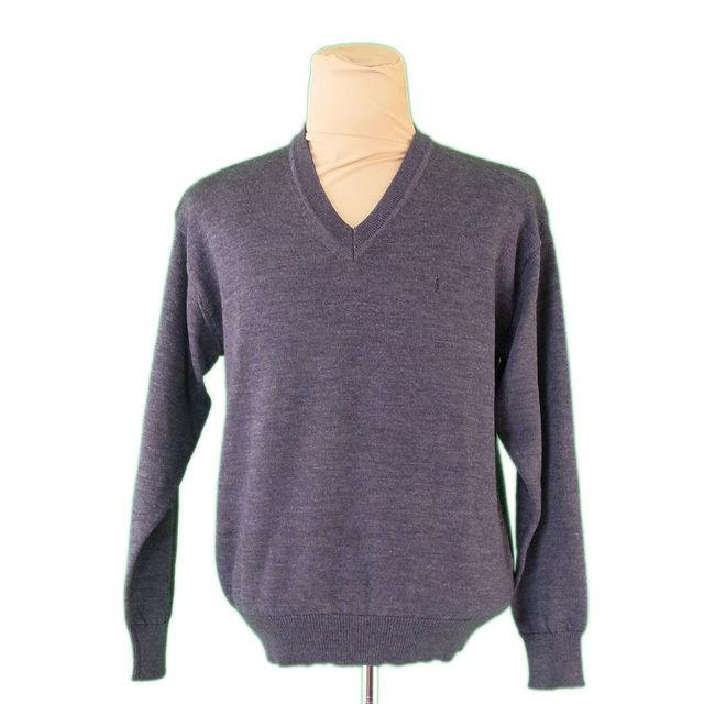 【中古】 サンローラン SAINT LAURENT ニット Vネック セーター メンズ ヴィンテージ グレー 毛 100% L2271 .