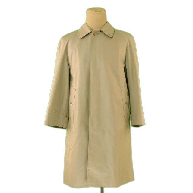 【中古】 バーバリー BURBERRY コート シングル ロング メンズ ♯Mサイズ ライトカーキ 綿 100%(胴裏)綿(袖裏)ポリエステル L2280 .