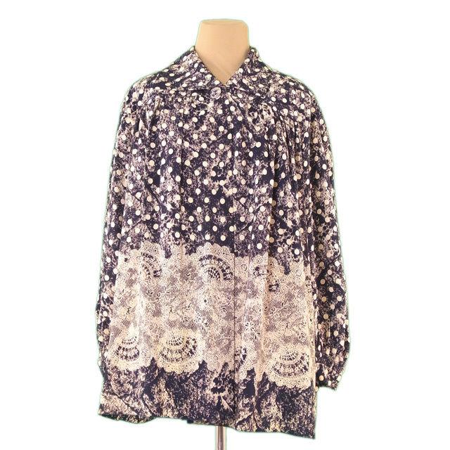 【中古】 ディオール Dior シャツ 1つボタン レディース ♯9サイズ 肩パッド付き ドット×レース ネイビー×ベージュ 絹/100% 超 人気 L2288