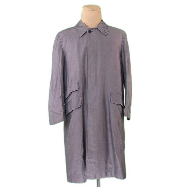 【中古】 バーバリー BURBERRY コート ロング メンズ シングル ステンカラー グレー 綿/100%(胴裏)綿(袖裏)レーヨン 人気 L2294 .