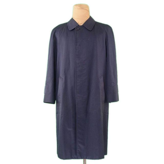 【中古】 アクアスキュータム Aquascutum コート ロング メンズ シングル ステンカラー ネイビー C/100% 人気 L2299