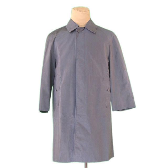 【中古】 バーバリー BURBERRY コート シングル ロング メンズ ♯SSサイズ ブルー×カーキ ポリエステル 65%綿 35%(裏地)ポリエステル L2356 .