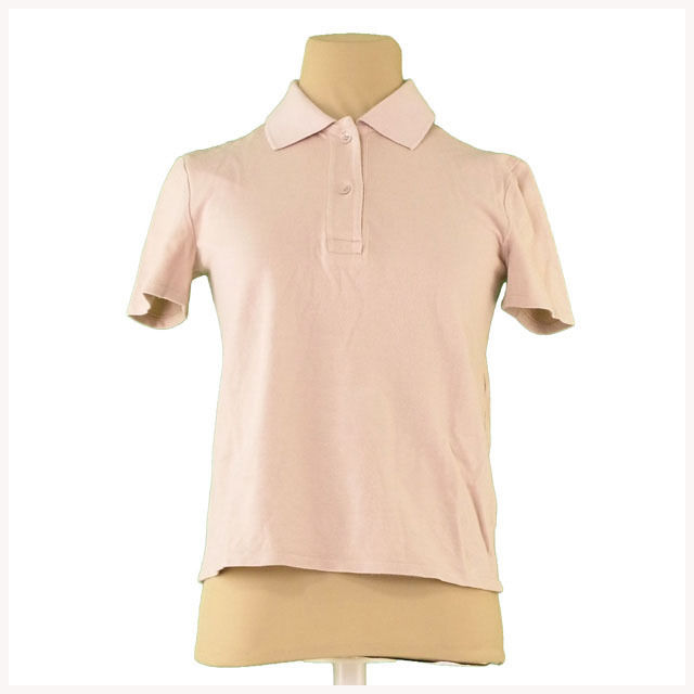 【値引きクーポン】 【中古】 ミュウミュウ miu miu ポロシャツ 半袖 レディース ♯Sサイズ ベージュ×ピンク系 綿100% L2398 .