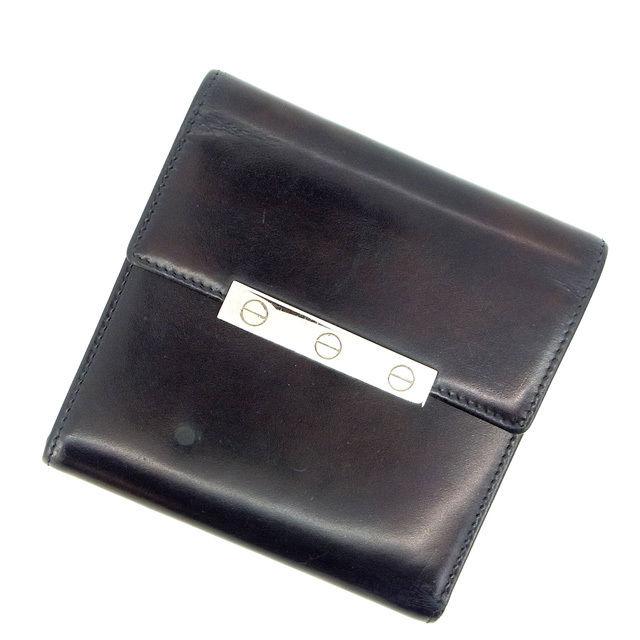 【中古】 カルティエ Cartier 三つ折り財布 /メンズ可 ブラック レザー (あす楽対応)(人気・激安) M1059 .