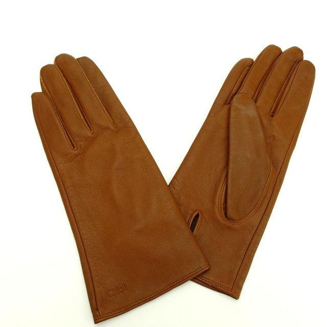 【中古】 クロエ Chloe 手袋 ブラウン レザー (あす楽対応)人気 良品 M1177