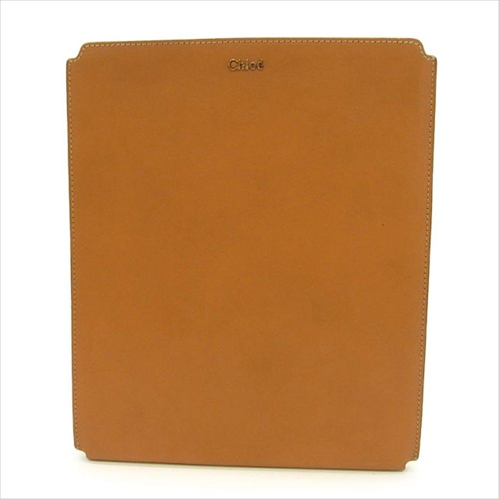 【中古】 クロエ Chloe iPadケース レディース ステッチ入り ライトブラウン N044