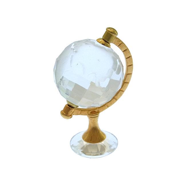 【中古】 スワロフスキー SWAROVSKI 置物 オブジェ インテリア レディース 地球儀モチーフ クリア×ゴールド N149