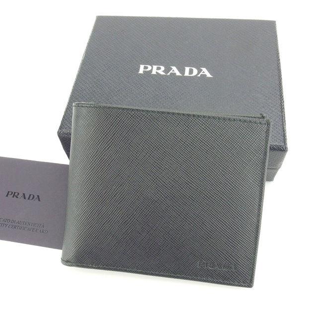 【中古】 プラダ PRADA 二つ折り札入れ メンズ ロゴ ブラック 美品 N330