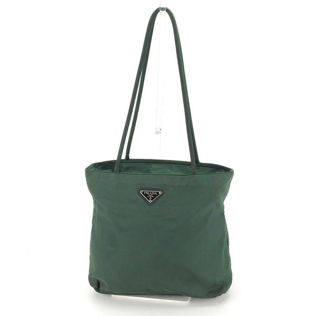 7038ef57a2ef Prada PRADA tote bag shoulder bag man and woman combined use logo plate  B7352 green X black X silver nylon canvas (correspondence) popularity sale  N354