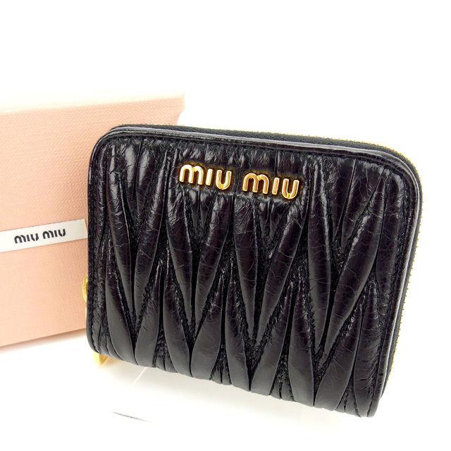 【中古】 ミュウミュウ miumiu 財布 PORTAFOGLI NERO(黒) レザー (あす楽対応)(人気 激安) O018