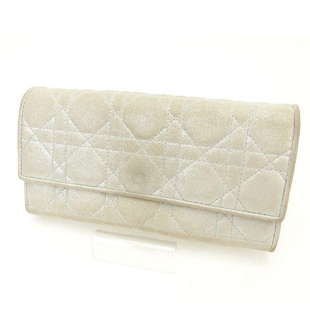【中古】 クリスチャン・ディオール Christian Dior 長財布 シルバー キャンバス (あす楽対応)良品 人気 O153