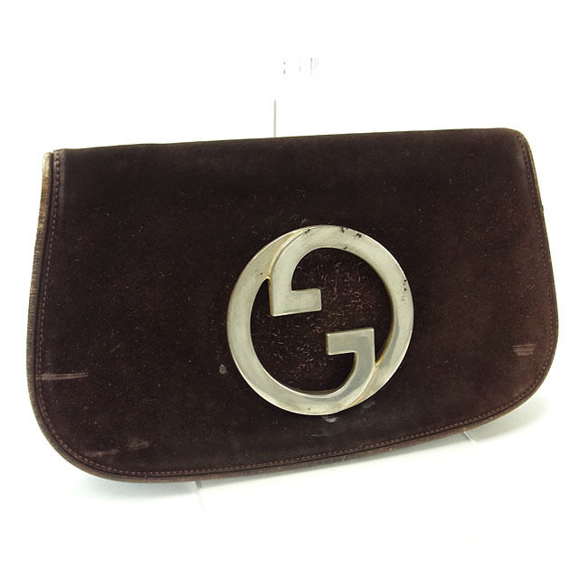 Gucci GUCCI clutch bag second bag men s possible vintage double G brown X  silver suede (correspondence) deep-discount popular P041 a0085b2ecb2c7