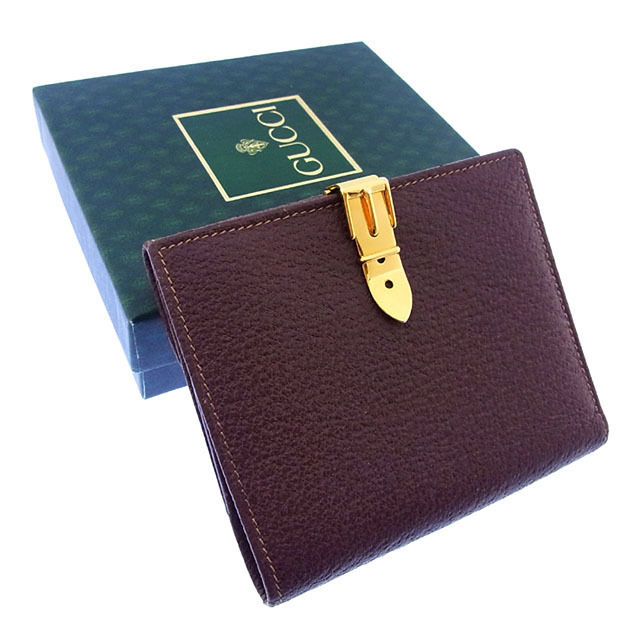 【中古】 グッチ GUCCI Wホック財布 二つ折り メンズ可 ヴィンテージ ベルトクリップ ブラウン×ゴールド レザー (あす楽対応)美品 人気 P068